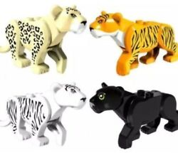 Lot of 4 PCS - LEGO Compatible Tiger Cat  Black Panther Leopard White Tiger