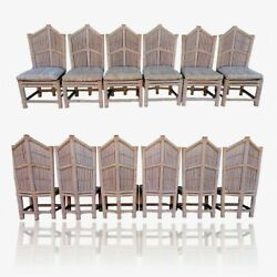 Vtg Lane Venture Bamboo Cathedral Dining Set 6 Chairs And Table Base Pipe Rattan