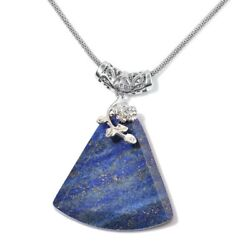 Lapis Lazuli Steel Flower Chain Pendant Necklace Jewelry for Women 20