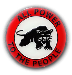 Metal and Enamel Pin Black Panther Party All Power to the People Retro 60s 1960s