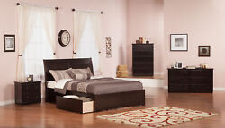 Portland Queen Platform Bed With Flat Panel Foot Board And 2 Urban Bed Drawer...