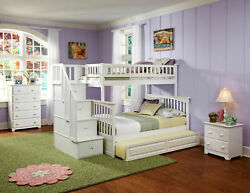 Columbia Staircase Bunk Bed Twin Over Full With Twin Size Raised Panel Trundl...
