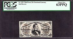 Us 25c Fractional Currency 3rd Issue Red Back Fr 1291 Pcgs 63 Ppq Ch Cu 102