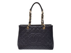 Authentic Chanel Matelasse Women's Caviar Leather Tote Bag Blac 802500020622000