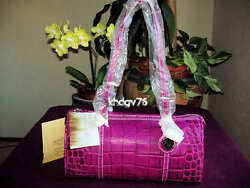 New With Tags Authentic Dooney & Bourke Nile Croco Barrel Orchid Bag $285