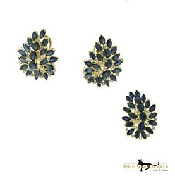 Blue Sapphire And Diamond Ring And Earring Set, 18k Yellow Gold,14.92 Total Carats