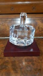 Baccarat Signed Crystal Dreidel On Stand - Etched With Hebrew Letters
