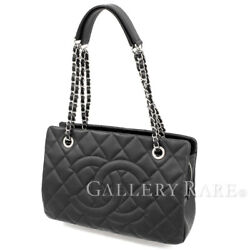 CHANEL Tote Bag Caviar Leather Black Coco Classic Italy Authentic 4806981