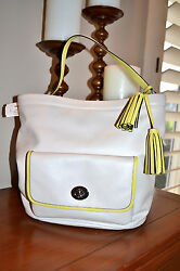 NWT $428 COACH Legacy ARCH Bucket Bag HOBO White Leather Shoulder Handbag Tassel