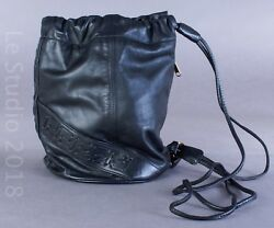 Portofino Collection by Austin Designs Black Drawstring Leather Shoulder Bag