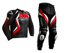 Rst Tractech Evo 4 Red/black/white Motorcycle Ce Leather Jacket/trousers 2pc