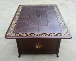 Az Patio Heaters Decorative Bronze Firepit Table With Scroll Design