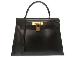 AUTHENTIC HERMES Kelly 28 Outer Sewing Black Box Calf Grade B USED -CJ