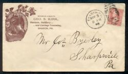 1898 Geo. S. Kirk Harness Dealer, Horse Advertising Cover, 2¢ Tied Sharon Pa, Vf