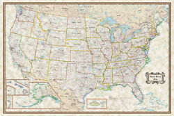 USA Classic Executive Wall Map Poster 36quot;x24quot; Rolled Laminated 2020