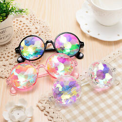 Festival Party Rave Kaleidoscope Rainbow Round Glasses Diffraction Crystal Lens $20.57