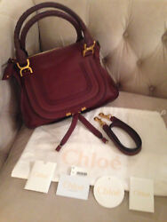 CHLOE MARCIE MEDIUM Satchel Crossbody Shoulder Bag - DARK VELVET - PRETTY - NWT