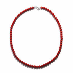 Womenand039s 925 Sterling Silver Red Coral Beaded Bead Necklace Jewelry 18 Ctw 100