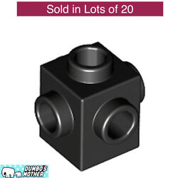 LEGO Black Brick 1 x 1 1x1 with 4 Studs on opposite Sides NEW 4733 X20