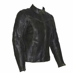 Womens Dark Brown Vintage Distressed Leather Motorcycle Jacket Ce Armour 6-20