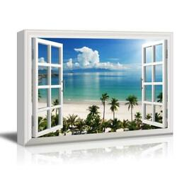 Window View Tropical Landscape with Beach and Palm Trees Gallery 16x24 inches $32.99