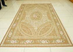 6' X 9' Chic Shabby Rose Garland Natural Pure Silk Rug Handmade Guest Room Decor