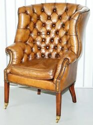 Chesterfield Top Grain Brown Leather Button Barrel Back Porters Club Armchair