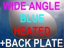 Vw Passat B6 2005-09 Wing Mirror Glass Heated Blue Aspheric+plate Right Or Left
