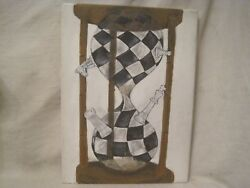 Original Concept Art Time Chess Board Sand Clock Painting Sale Royal King Game