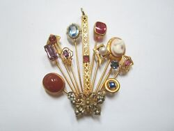 Antique 10k Yellow Gold Pin Or Pendant 11 Stick Pins, A Bar Pin, And A Butterfly