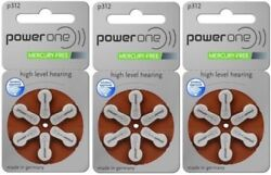 Power One Size Size 312 Hearing Aid Batteries 20 Packs Total Of 120 Batteries