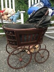 Antique Stroller Baby Carriage Buggy For Dolls Antique Kids Toy Collectible Old
