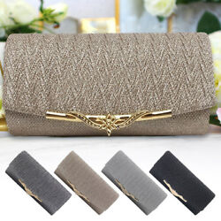 Women Evening Bag Clutch Wedding Prom Party Shoulder Handbag With Gold Chain $10.99
