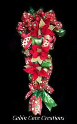 Christmas Teardrop Swag Wreath 1 Red Lime Green Custom Decorated 2 Available