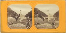 Garden of  the Luxembourg Paris Stereo Diorama Vintage Albumin Ca 1865