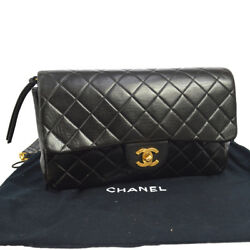 Authentic CHANEL Quilted CC Chain Backpack Bag Black Leather Vintage AK16596k
