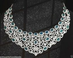 25.54ct NATURAL DIAMOND EMERALD 14KSOLID WHITE GOLD WEDDING ANNIVERSARY NECKLACE