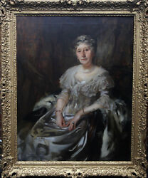 JAMES JEBUSA SHANNON BRITISH ART SOCIETY PORTRAIT LADY RUTHVEN OIL PAINTING 1900