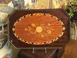 Vintage Italian Satin Wood Inlay Floral Design Serving Tray 21 In