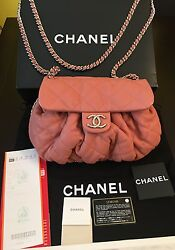 Chanel Peachy Muted Pink Quilted Crossbody Flap Bag Silver CC Chain