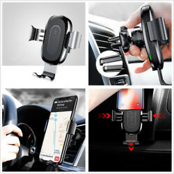 Car Air Vent Holder Wireless Charger Silver Gravity Quick Charger For Cell Phone