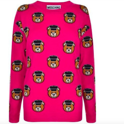 675 Moschino Couture Jeremy Scott All Over Teddy Bears Policeman Pink Sweater
