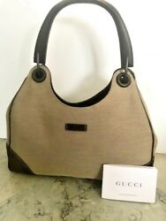 REDUCED - Gucci Canvas Tote Bag wood handle new