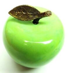 Marble Green Apple, Gold Color Brass Leaf Stem, Paperweight, Teachers Gift