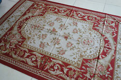 5' X 8' Pure Silk Red Pink Roses Bouquet European Style Aubusson Rug147
