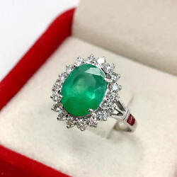 Black Friday 0.71ct Round Diamond 14k Solid White Gold Emerald Ring In Size 7