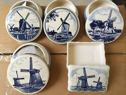 Royal Goedewaagen Delft Hand Decorated Trinket Boxes - Windmill Collection