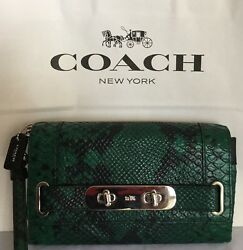 COACH 66451 FOREST GREEN PYTHON EMBOSSED LEATHER SWAGGER CLUTCH WRISTLET BAG NWT