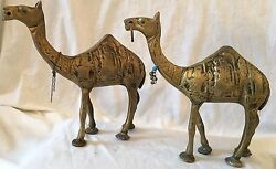 Antique Persian Etched Brass Camel Figurine – Unknown Age - Collectible Pair