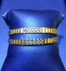 21kt Designer Gold Bangles Pair With Two Tone Polish In Solid Gold